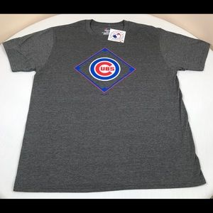 Chicago Cubs Shirt Mens Large Majestic MLB Gray